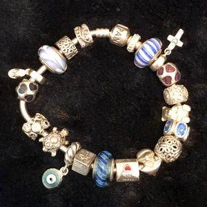 Pandora bracelet with 20 charms